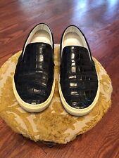 Saint Laurent Mens Crocodile Embrossed Leather Slip On Loafers 42 Size 9