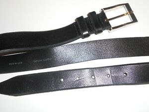 "Mens Remo Tulliani full leather black  belt 36"" waist vgc made in the USA"