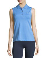 Tory Burch Sport Women's Performance Pique Sleeveless Polo Shirt Top Blue L NWT