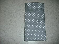 Sunglass / Eyeglass Soft Fabric Case - Silver / Grey with White Polka Dots - NEW