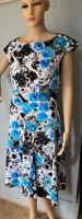 Per Una  Fit & Flare Knee Length Floral Dress U.K. Size 14 Black Blue Mix BNWOT