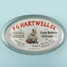 Antique F. G. Hartwell & Co. Coal & Coke Chicago Advertising Glass Paperweight