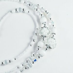 Beaded Lanyard~Clear & White Flowers~Crystal~Badge ID Holder