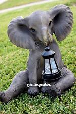 ELEPHANT WITH SOLAR LIGHT STATUE ELEPHANT FIGURINE