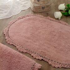 Tappeto bagno Ovale Shabby chic Bordo Crochet Colore Rosa 67 x 115