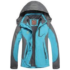 Women's Waterproof Jacket Outdoor Hooded Rain Coat Hiking Trekking Sport BLUE XL