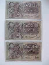 Indonesia De Javasche Bank 5 Gluden - 3 pcs lot