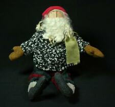 Hand-Crafted Primitive Folk-Art Santa in Sweater and Plaid Fleece Pants
