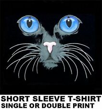 BEAUTIFUL CAT KITTEN FACE ART WITH PURPLE BLUE EYES WHISKERS T-SHIRT WS760