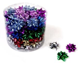 100 x Mini 5cm Metallic Everyday Mix Star Gift Bows - Gift Wrapping Party