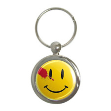 SMILEY FACE WATCHMEN STYLE ROUND METAL KEY RING (AA)