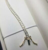 Tennis Bracelet yellow gold finish with Created Diamond princess cut gift boxed