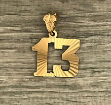 Large Number 13 Pendant 24k gold plated diamond-cut Team Player Number 13