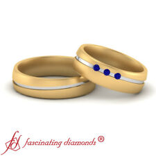 Stone Matching Promise Rings For Couples Round Cut Sapphire Gemstone Two Tone 3