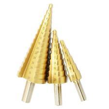 3pcs Forets Fraises Etages Echelle Tige Triangle Conique en Acier HSS