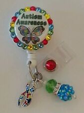 Personalized Autism Awareness card reel/ id badge holder for nurses, teachers...