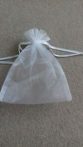 WHITE ORGANZA GIFT BAG Sheer Jewellery Pouch Wedding Birthday Party