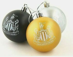 Newcastle United FC 3 Pack Bauble Set Black, Gold, Silver Christmas Decorations
