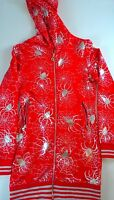 Impression Spiderman Hoodie Jacket Dress Womens SZ M/L Red Silver Zip Pockets