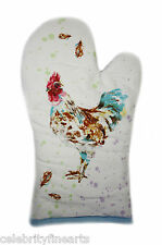 Country Cockerel Cotton Oven Glove Mitt Kitchen Accessory Home Cooker NEW