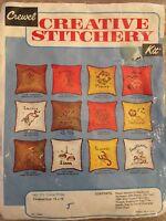 Vintage Crewel Needlepoint Kit  LIBRA  Zodiac Creative Stitchery Picture Pillow