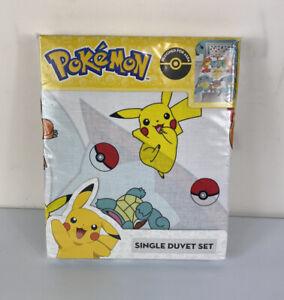 Official Pokemon Single Duvet Cover Set Reversible Polycotton Pikachu Jump