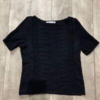 St John by Marie Gray Short Sleeve Black Top Women Size 6 Fashion
