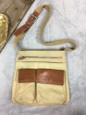 Fossil Canvas & Leather Cross Body Side Messenger Bag