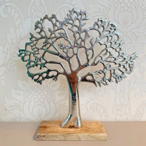 Tree of Life Silver Wood Base Home Ornament