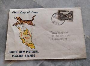 1960 Johor Johore 1st Pictorial Kerbau Stamp FDC Tiger  Peninsular Malaya design