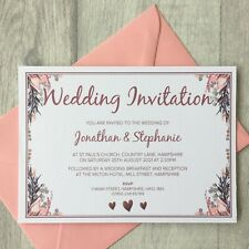 10 Personalised Wedding Invitations | Save the Date Invites Cards Day Envelopes
