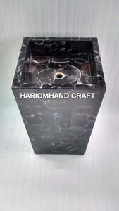 Black Square Sink Marble Agate Mosaic Precious Real Inlay Kitchen Art Decor E421