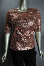 $2800 New DONNA KARAN Autumn Haze Copper Solar Diamonds Sequin tretchy Top 10