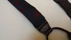 CAS Germany Silk Suspenders Leather Fittings - Navy Blue Red & Black Triangles