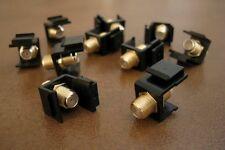 10 x F Insert Keystone Coax Coaxial Jack Connector Cable Sat TV Adapter Black