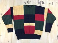 NAUTICA - Vtg 90s Red, Blue, Yellow, Green Color Block Cotton Sweater, Mens XL