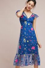 NWT SZ 2P Petite Anthropologie Embroidered Topaz Dress By Tracy Reese