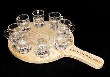 Schnapsrunde 20 cm mit Gravur und 8 Gläser Schnapsbrett Leiste Schnapslatte