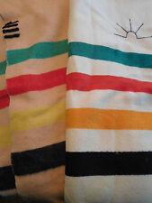 Lot of 2 Vintage Wool Blanket Red Black Green Yellow Stripe Rising Sun