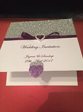 40 Handmade Wedding Invitations With Rsvp Cards And Poem Cards And Diamond Heart