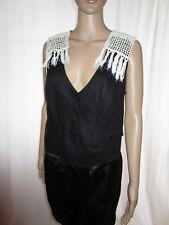 Gerry Weber Women Black Linen Crochet Embellish Hand Custom Waistcoat sz 14 AL13