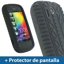 Negro Case Neumático Tyre para HTC Explorer A310e Silicona Funda Cover Carcasa