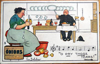 1907 Belcher/Artist-Signed Tuck Postcard: Peeling Onions, Music, Crying
