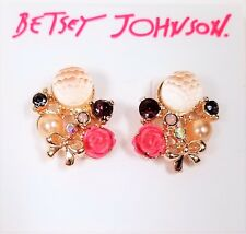 BETSEY JOHNSON PALE GOLD,PINK ROSE,CRYSTALS,BOW,FAUX PEARL,EARRINGS B08650-E01