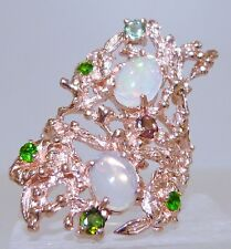 GENUINE 2.11cts Ethiopian Opal, Chrome Diopside & Tourmaline Ring S/Silver 925