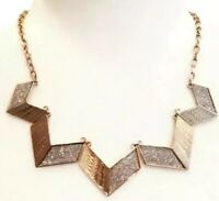 NWT Macy's Chevron Glitter and Gold-Tone Geometric Statement Necklace Silver