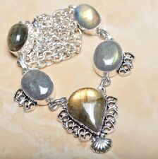"Handmade Fire Labradorite Gemstone 925 Sterling Silver Necklace 21"" #N00487"