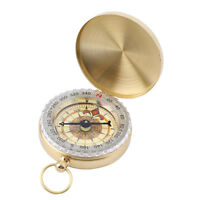 Brass Pocket Watch Style Outdoor Camping Hiking Compass Navigation Keychain ZP