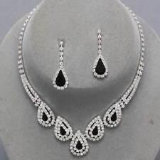 Black teardrop clear diamante necklace set prom bridal party jewellery 0186