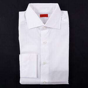 Isaia French Cuff 'Italia Fit' White Stripe Cotton Dress Shirt 16.5 (Eu 42)